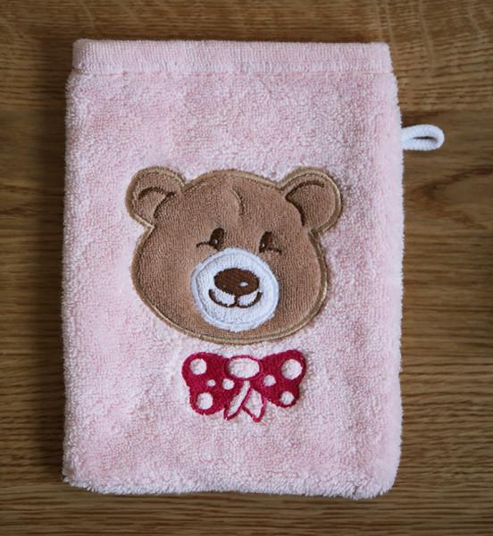 """Waschhandschuh mit Bär """"Ella"""" in Rosa"""