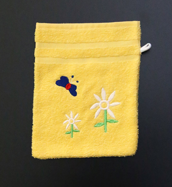 Bestickter Waschhandschuh in Gelb