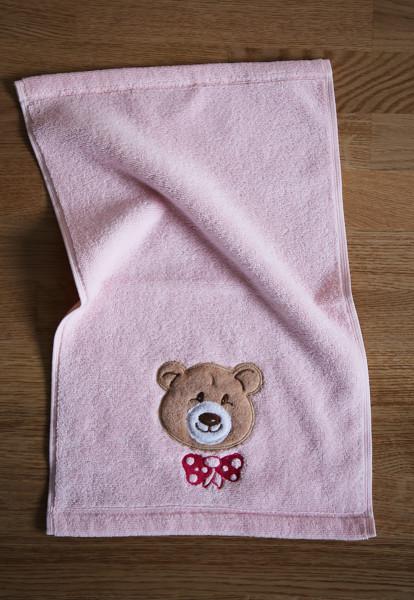 """Kleines Handtuch mit Bär """"Ella"""" in Rosa"""